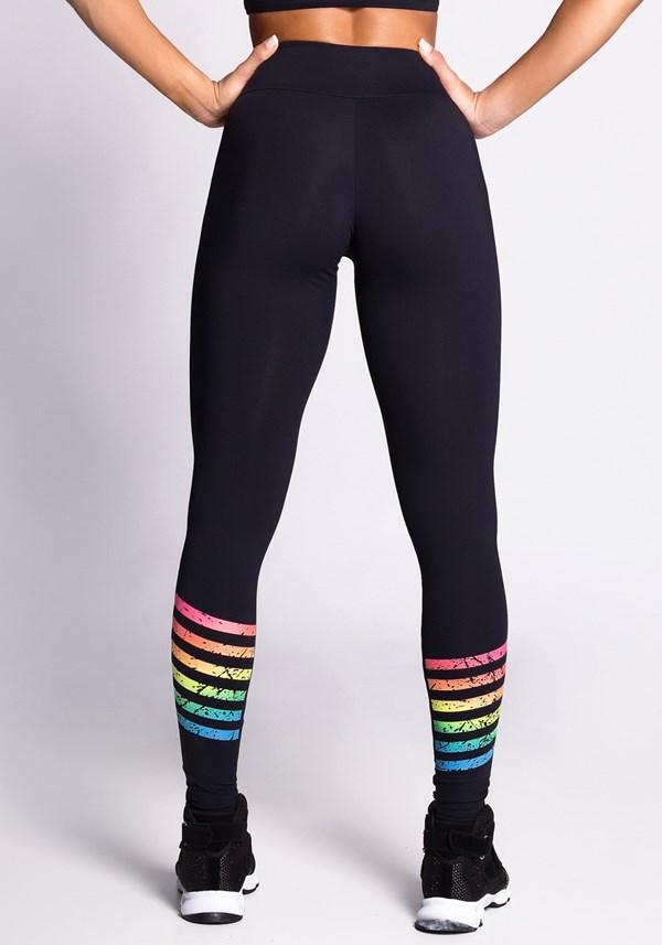 Calça legging poliamida preta com silk colorido