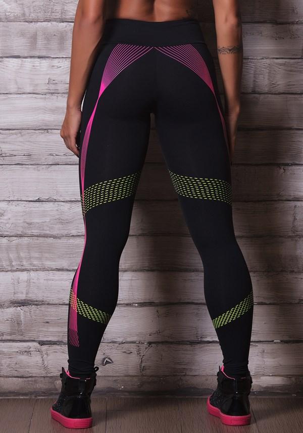 Calça legging poliamida preta com silk colors