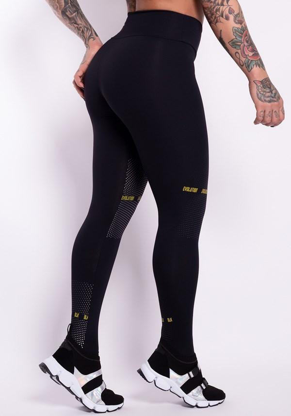 Calça legging poliamida preta com silk dlk evolution