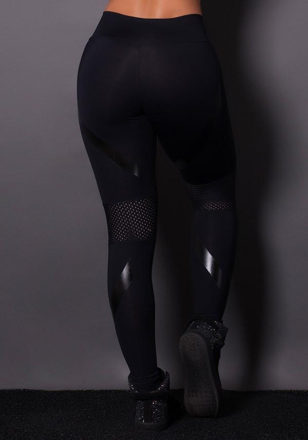 Calça legging poliamida preta com silk e dry fit