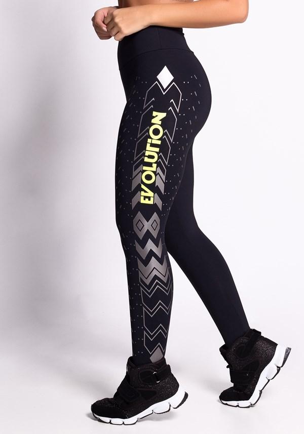 Calça legging poliamida preta com silk evolution neon