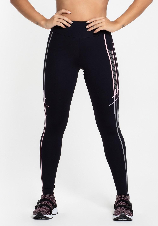 Calça legging poliamida preta com silk evolution rosê