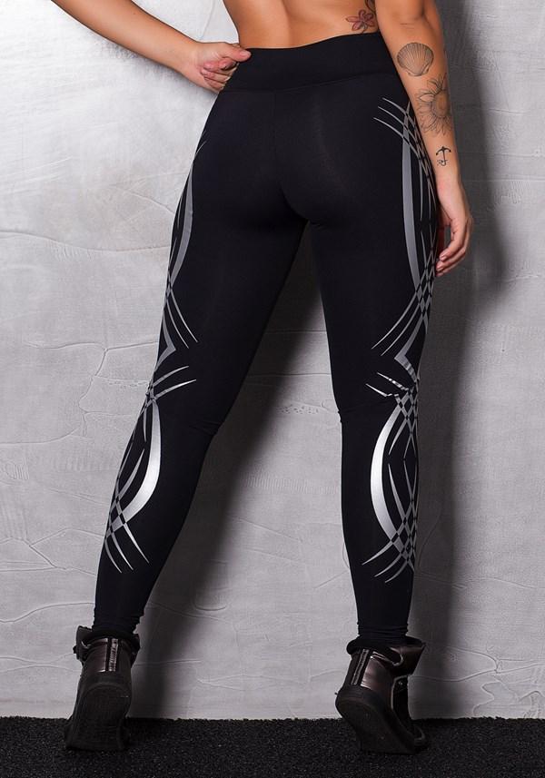 Calça legging poliamida preta com silk lines