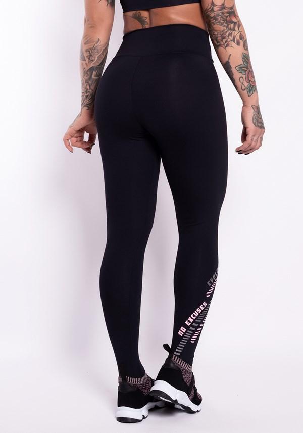 Calça legging poliamida preta com silk no excuses