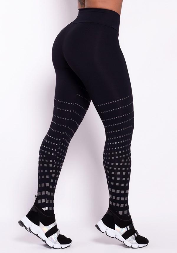 Calça legging poliamida preta com silk prata