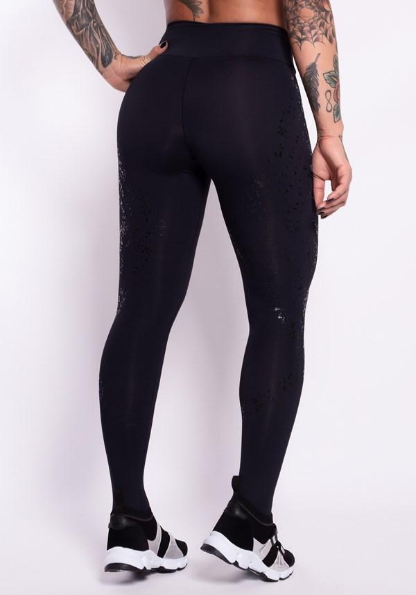 Calça legging poliamida preta com silk spots