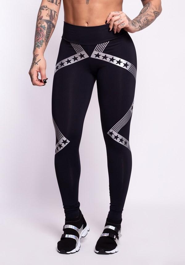 Calça legging poliamida preta com silk stars