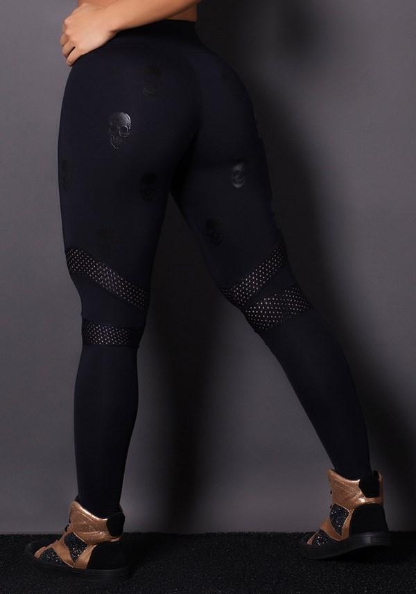 Calça legging poliamida preta com tela e silk caveira