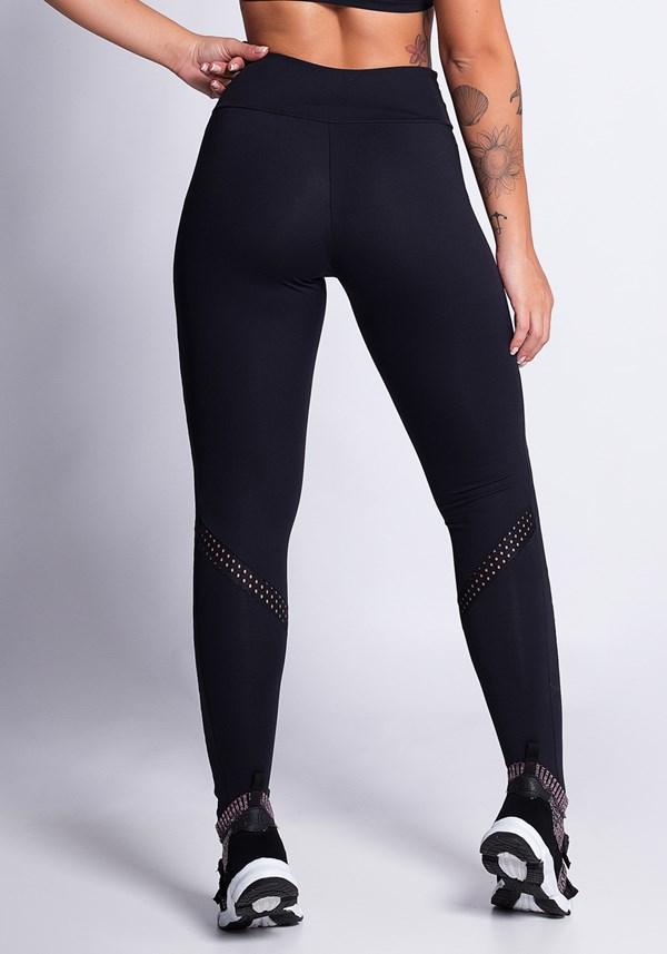 Calça legging poliamida preta com tela e silk stars