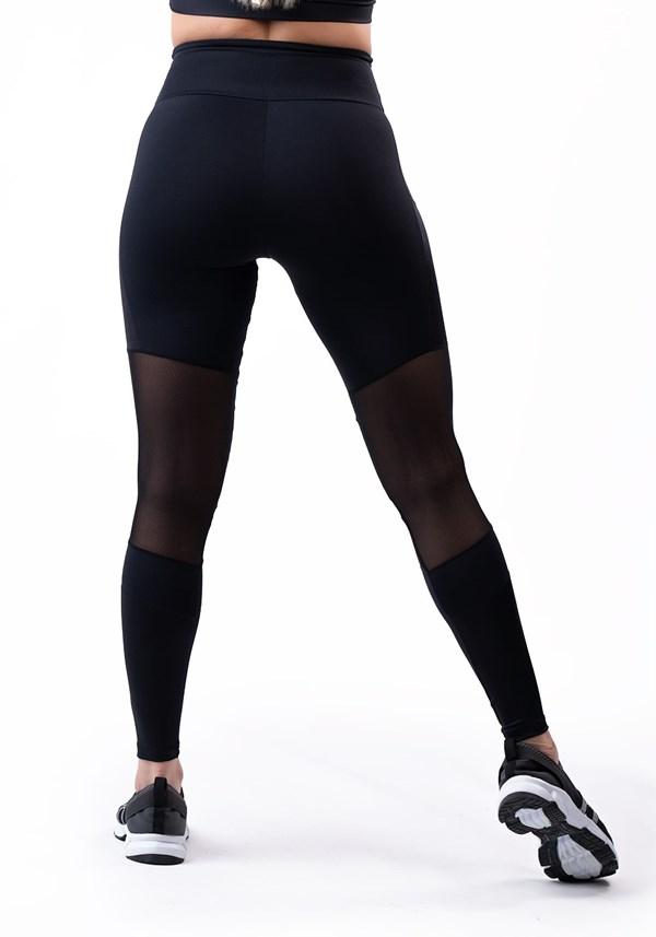 Calça legging poliamida preta com tule e recortes