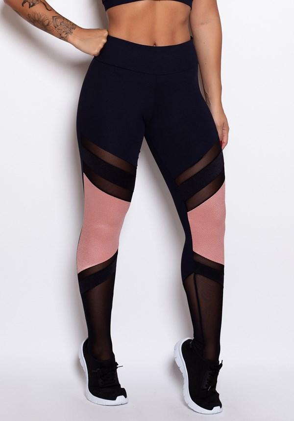 Calça legging poliamida preta com tule e textura rosê
