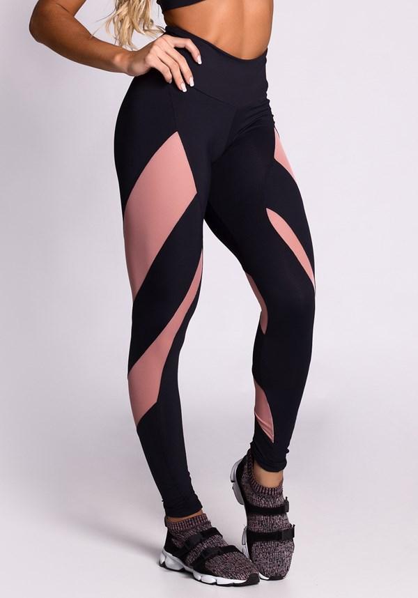 Calça legging poliamida preta com tule rosê