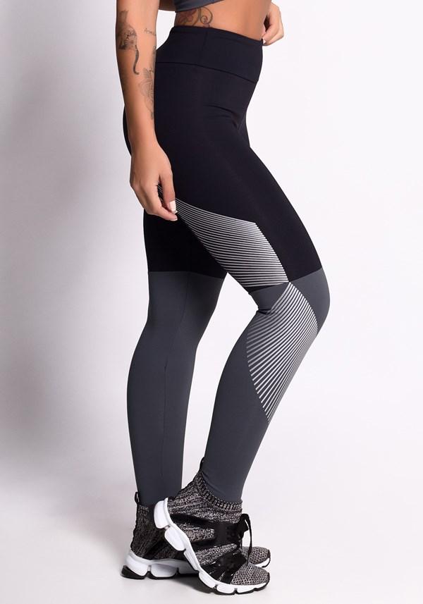 Calça legging poliamida preta e grafite com silk