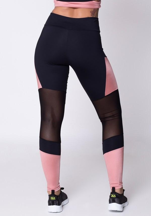 Calça legging poliamida preta e rosê com tule
