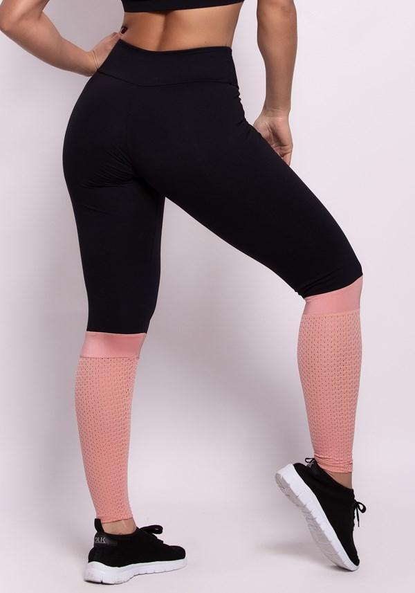 Calça legging poliamida preta e tela rosê