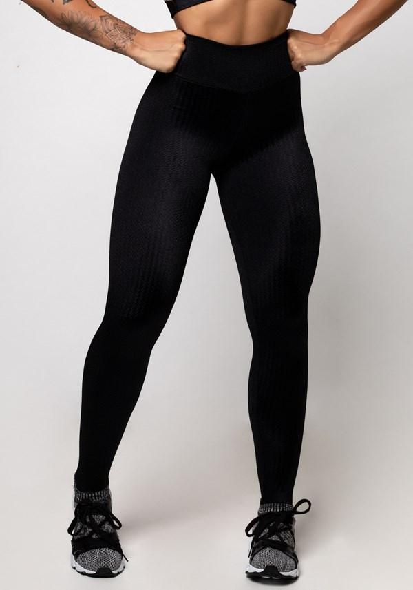 Calça legging poliamida preta luxe frequency