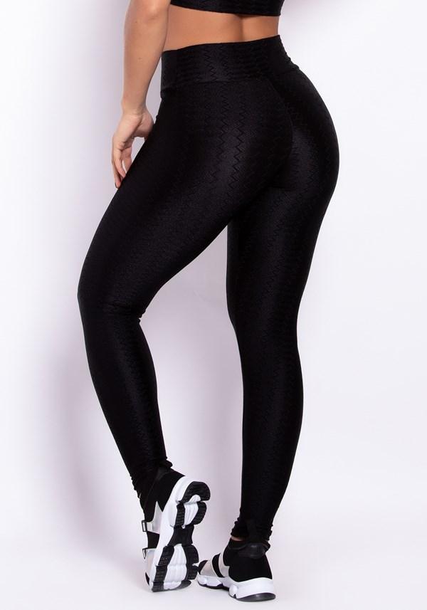 Calça legging poliamida preta luxe lines