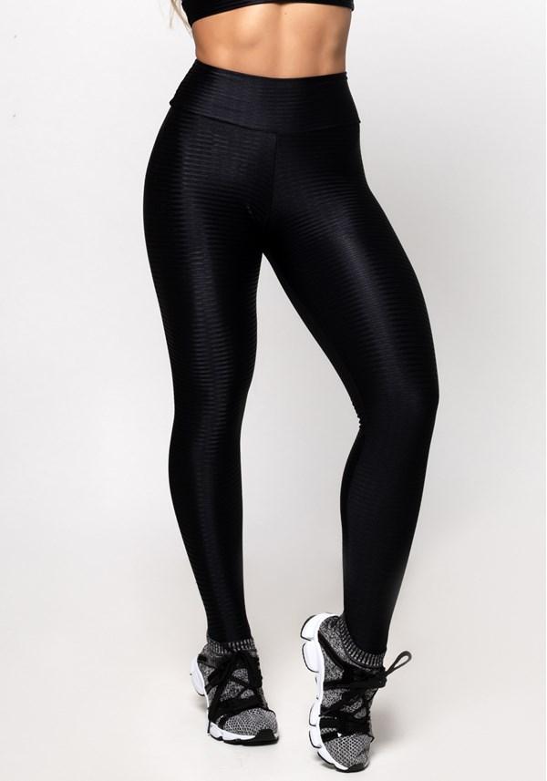 Calça legging poliamida preta luxe shine