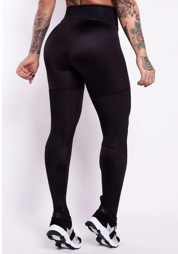 Calça legging poliamida preta metal com tela