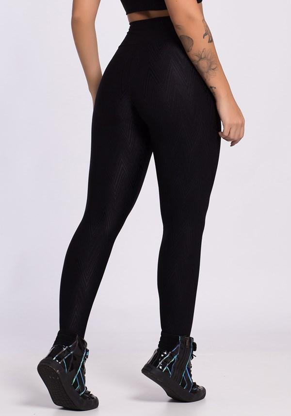 Calça legging poliamida preta shine lines