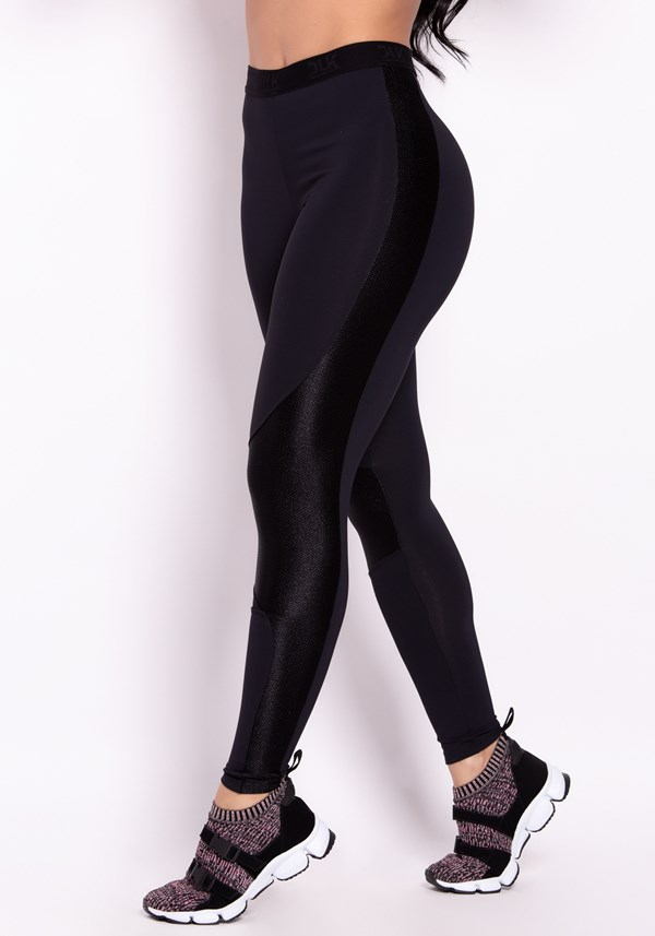 Calça legging poliamida preta tex com elástico dlk