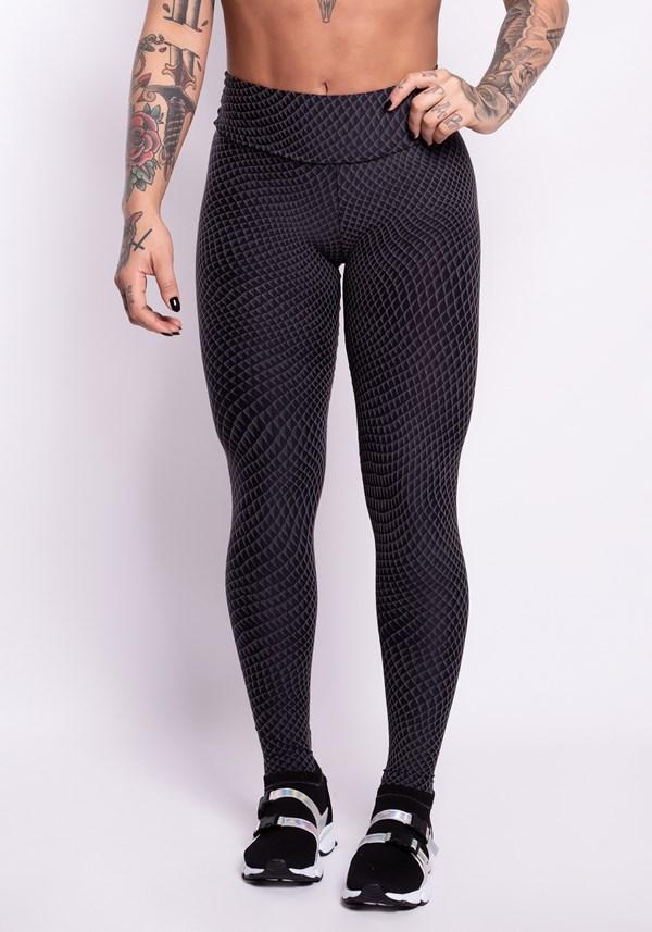 Calça legging poliamida preta texturizada