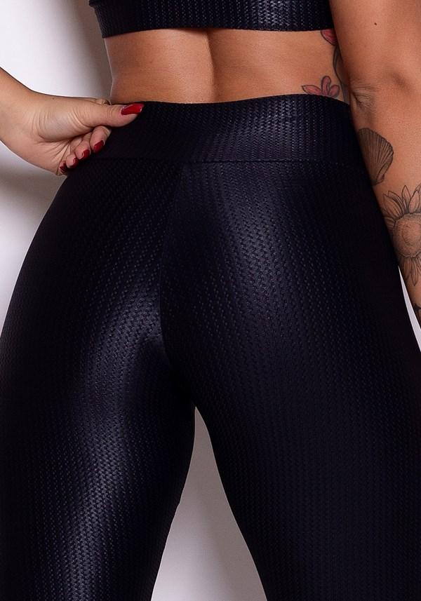 Calça legging poliamida preta texturizada com brilho