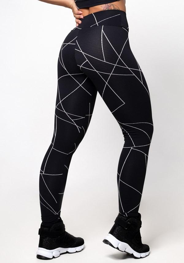 Calça legging poliamida preta texturizada lines