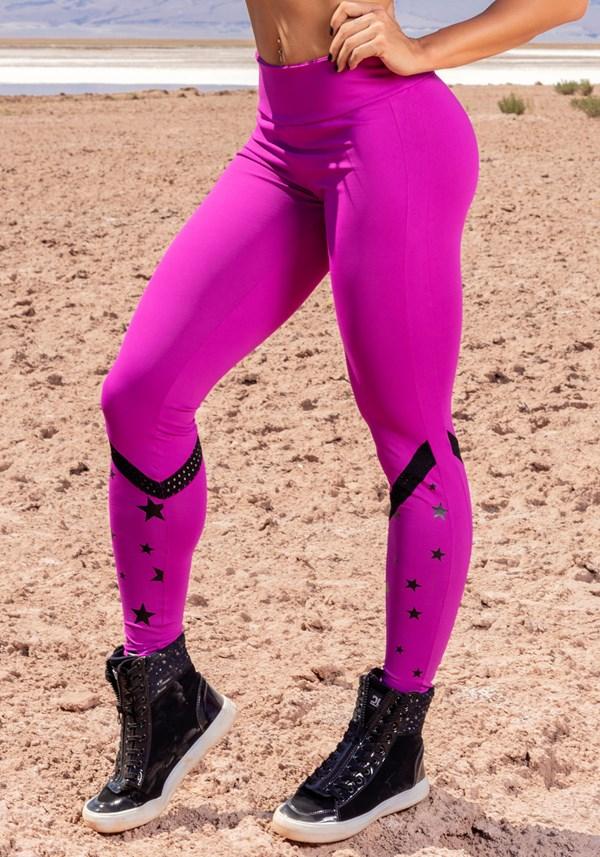 Calça legging poliamida rosa choque com silk