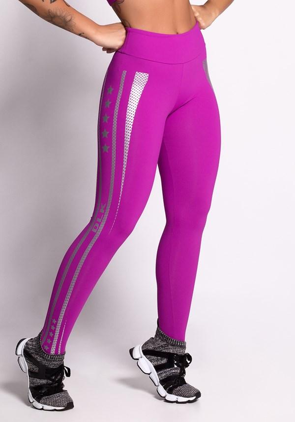 Calça legging poliamida rosa choque com silk prata
