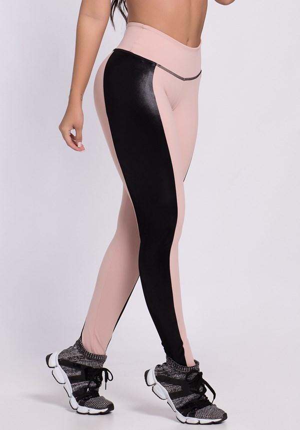 Calça legging poliamida rosê com detalhes em cirrê