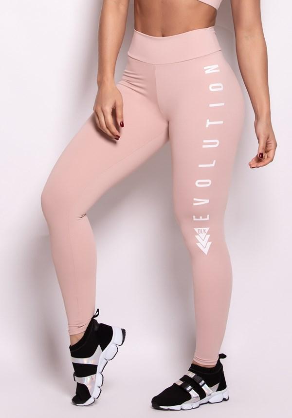 Calça legging poliamida rosê com silk evolution