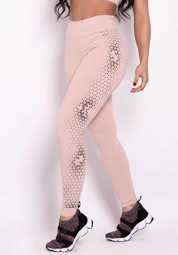 Calça legging poliamida rosê com silk prata