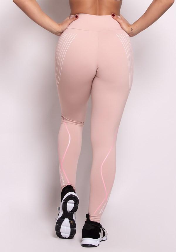 Calça legging poliamida rosê com silk soft lines