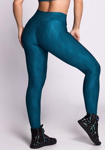 Calça legging poliamida shine alto relevo green