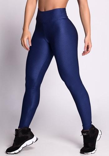 Calça legging poliamida shine azul texturizado