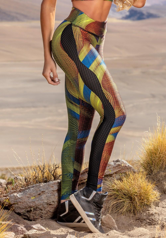 Calça legging poliamida shine com detalhes em dryfit preto