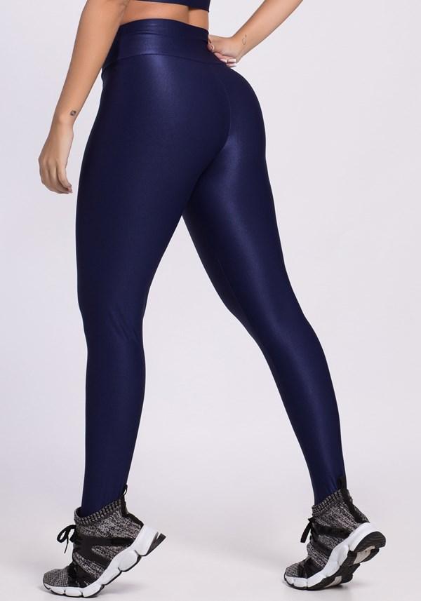 Calça legging poliamida shine lines azul