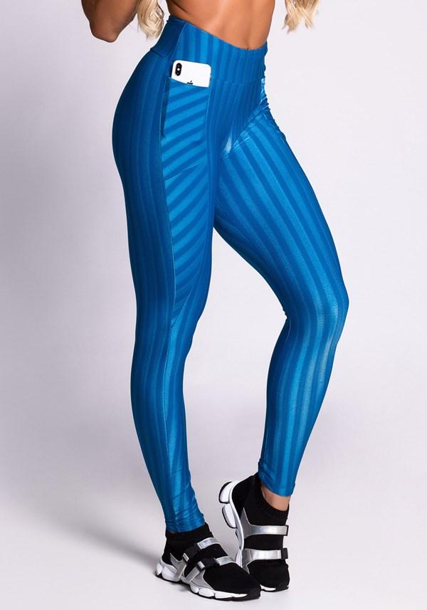 Calça legging poliamida shine lines azul bolsos
