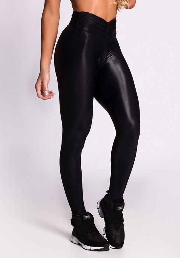 Calça legging poliamida shine preta