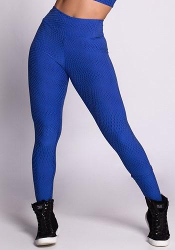 Calça legging poliamida texturizada azul 3d