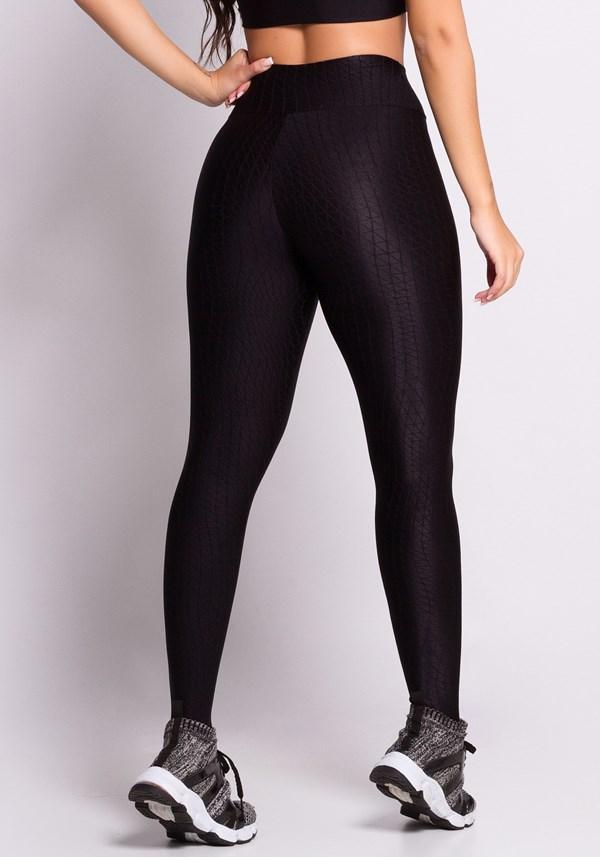 Calça legging poliamida texturizada com brilho preta