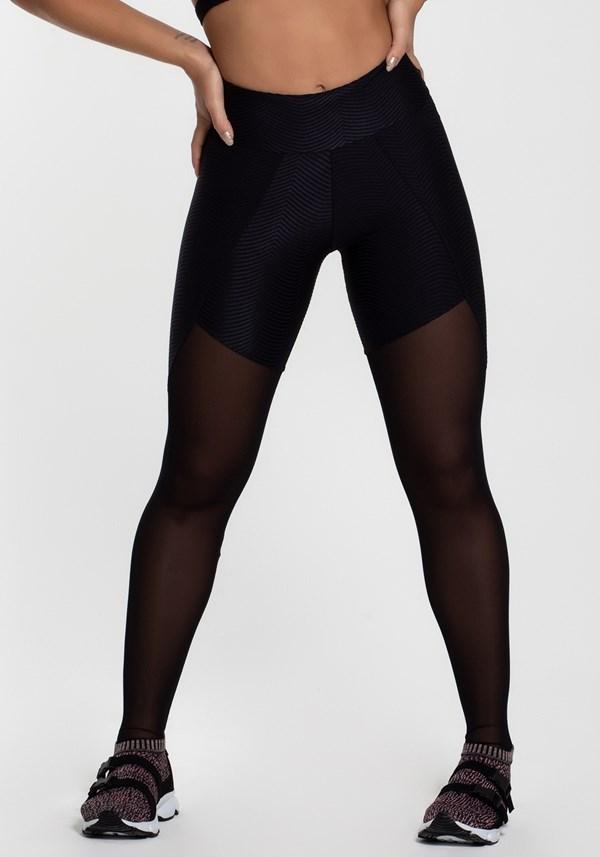 Calça legging poliamida texturizada com tule black shine