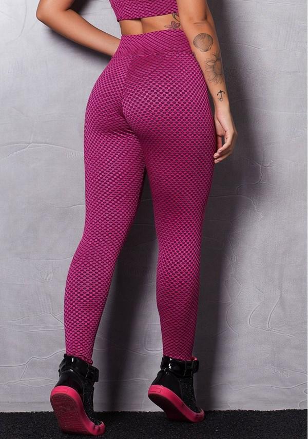 Calça legging poliamida texturizada pink