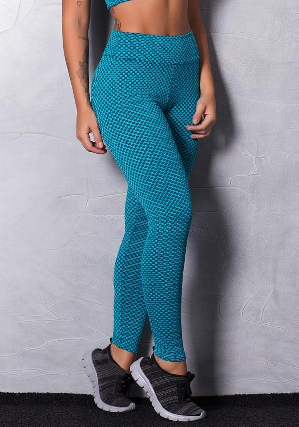 Calça legging poliamida texturizada verde