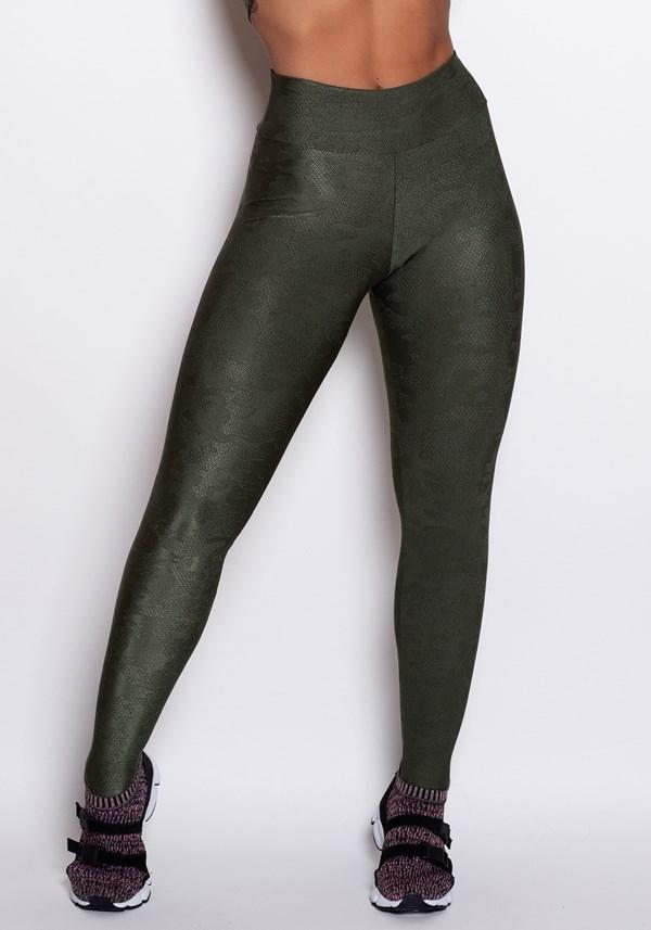 Calça legging poliamida verde com detalhes alto relevo luxe