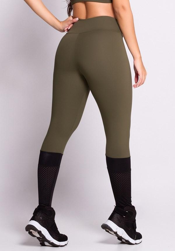Calça legging poliamida verde com dryfit