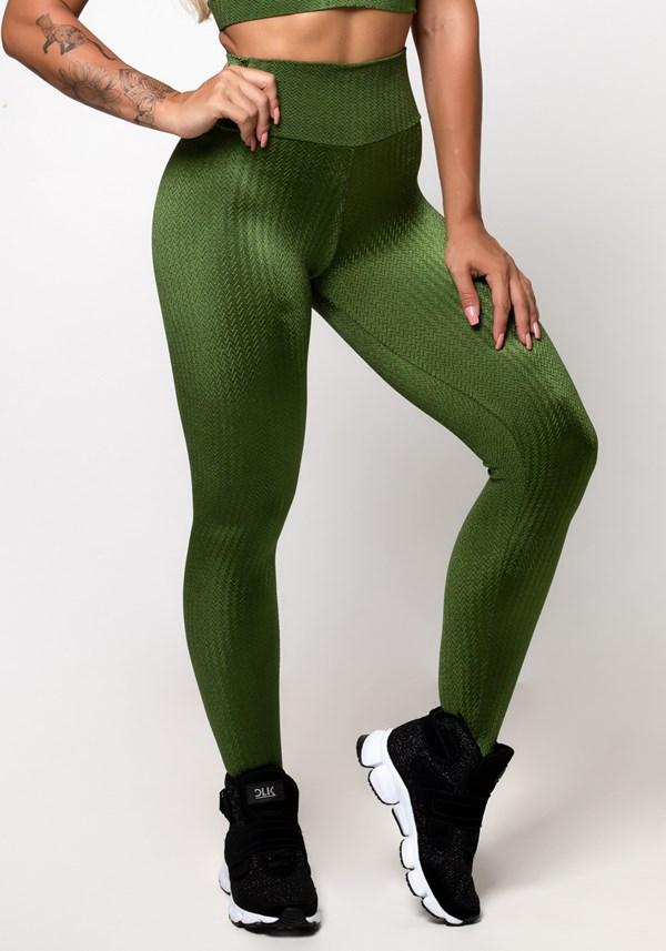 Calça legging poliamida verde luxe frequency
