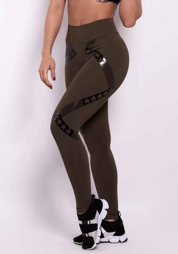 Calça legging poliamida verde militar evolution