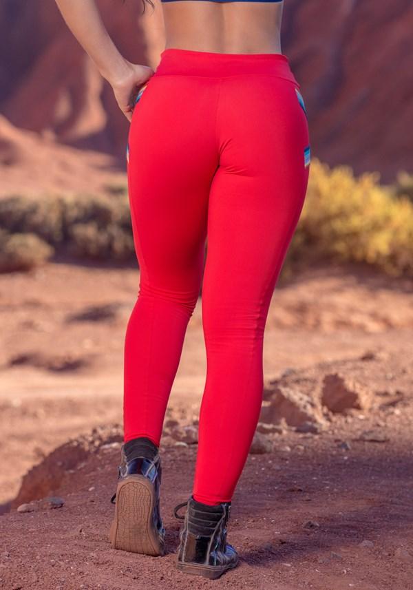 Calça legging poliamida vermelha com  elástico colors